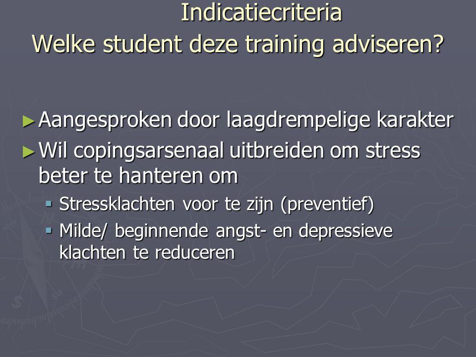 Indicatiecriteria Welke student deze training adviseren