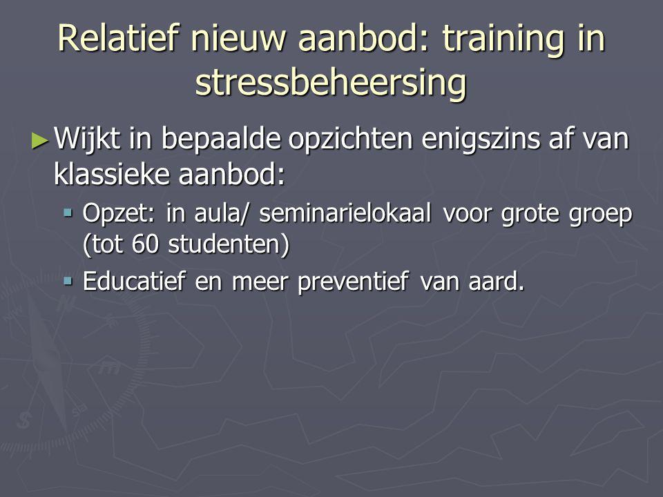 Relatief nieuw aanbod: training in stressbeheersing