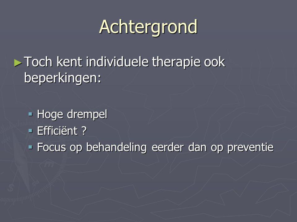 Achtergrond Toch kent individuele therapie ook beperkingen: