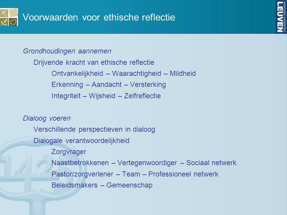 Voorwaarden voor ethische reflectie