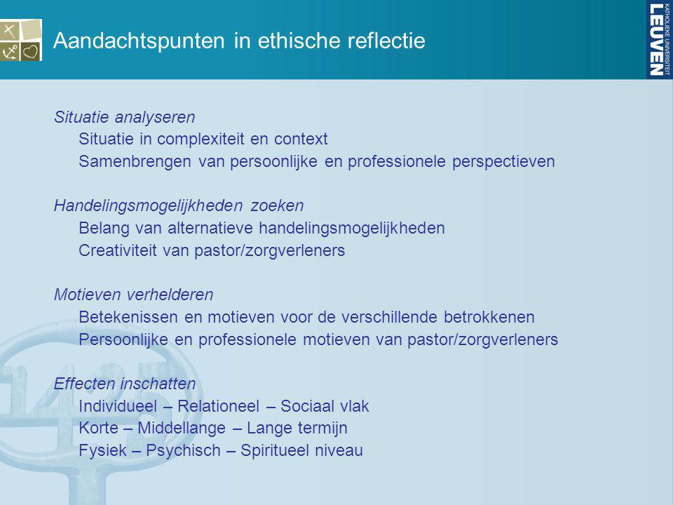 Aandachtspunten in ethische reflectie