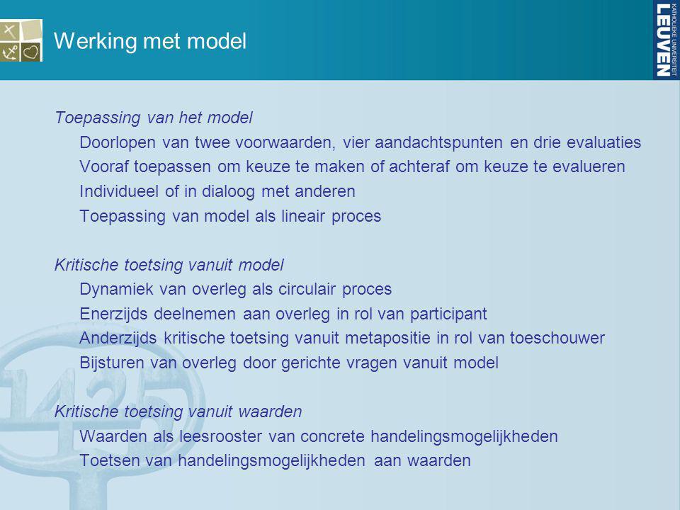 Werking met model Toepassing van het model