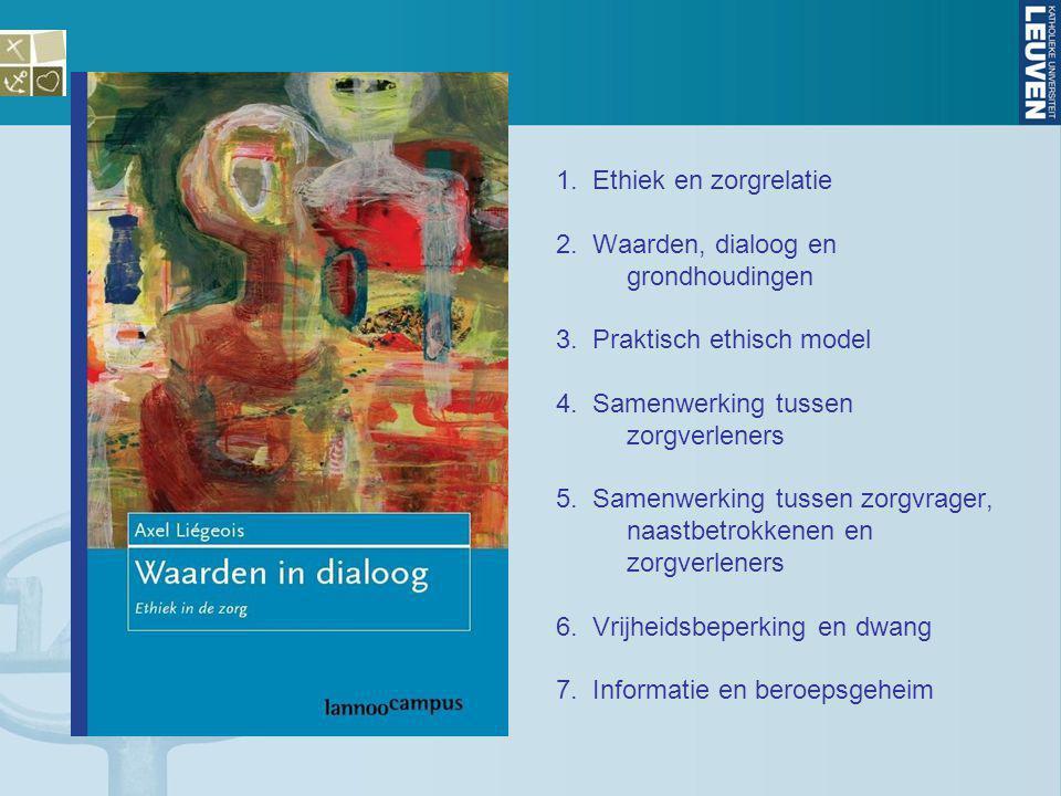 1. Ethiek en zorgrelatie 2. Waarden, dialoog en grondhoudingen. 3. Praktisch ethisch model. 4. Samenwerking tussen zorgverleners.