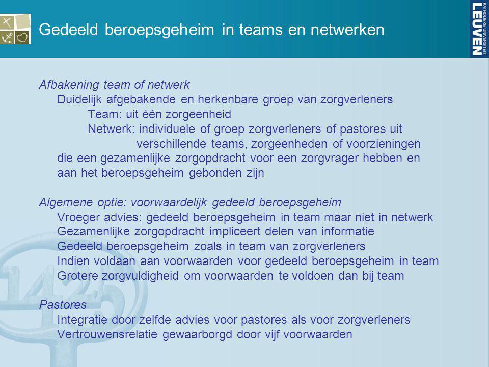 Gedeeld beroepsgeheim in teams en netwerken