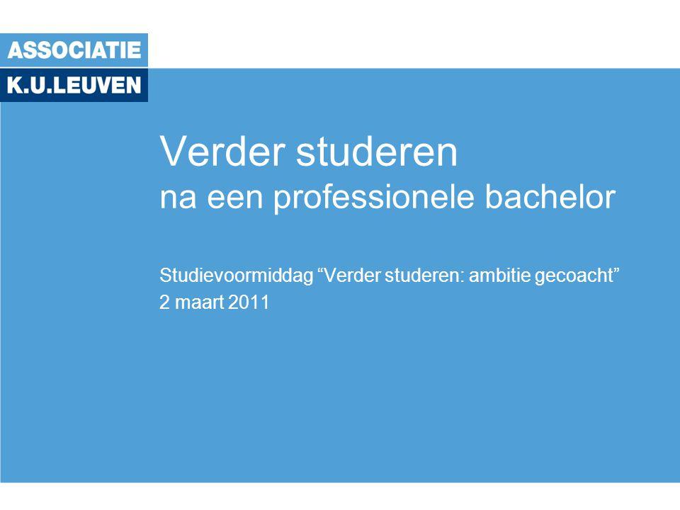 Verder studeren na een professionele bachelor