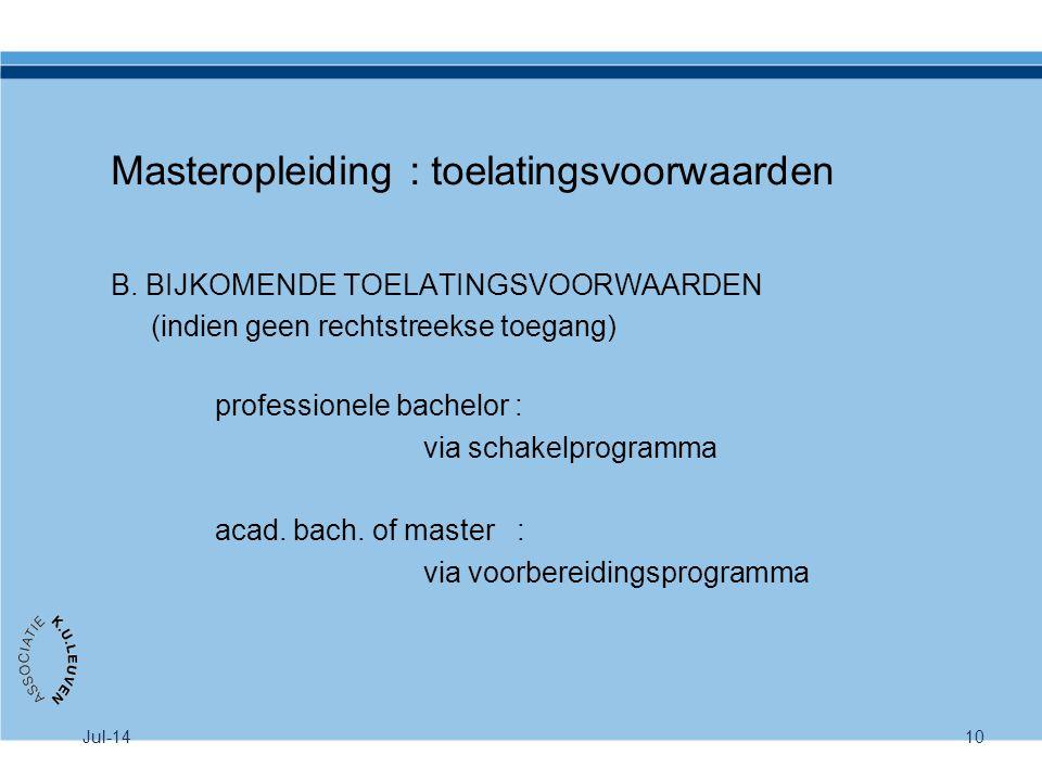 Masteropleiding : toelatingsvoorwaarden