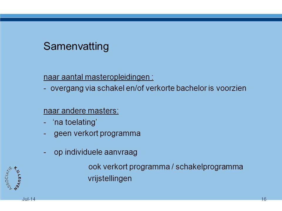 Samenvatting ook verkort programma / schakelprogramma