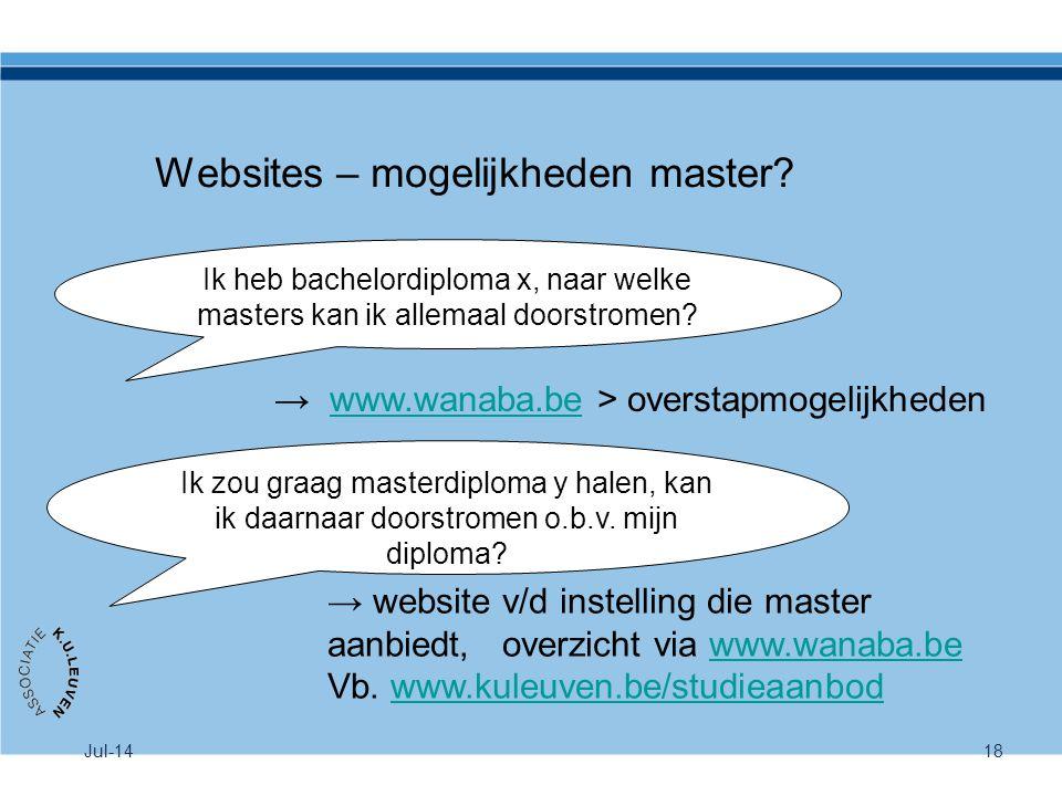 Websites – mogelijkheden master