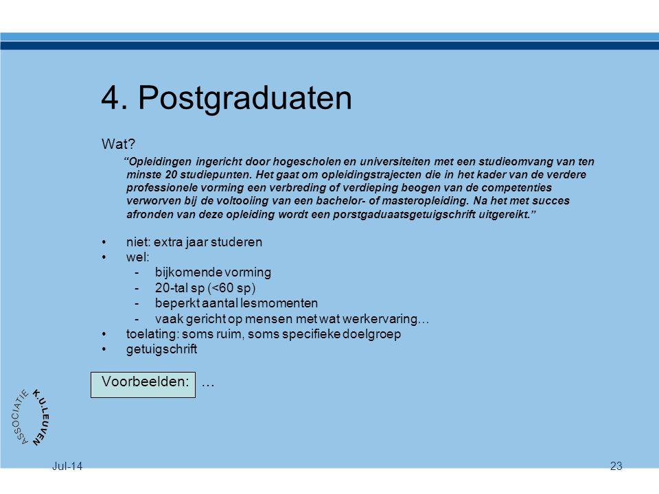 4. Postgraduaten Wat Voorbeelden: … niet: extra jaar studeren wel: