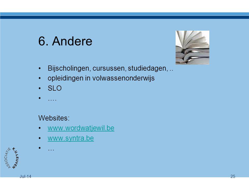 6. Andere Bijscholingen, cursussen, studiedagen, ..