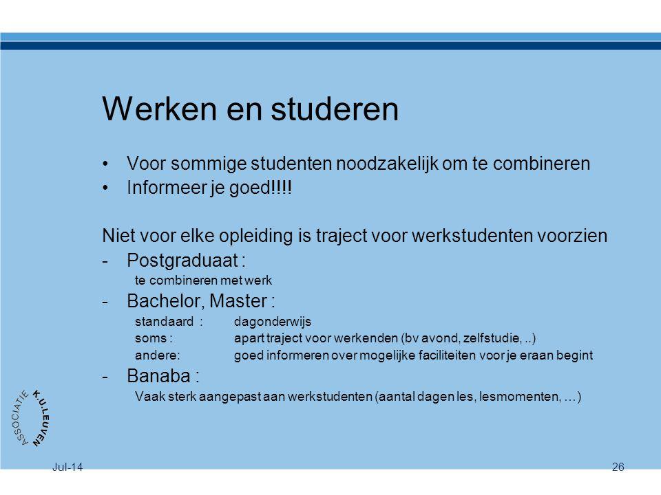 Werken en studeren Voor sommige studenten noodzakelijk om te combineren. Informeer je goed!!!!