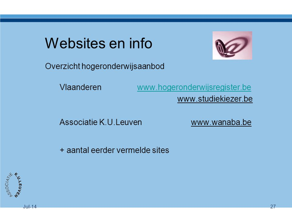 Websites en info Overzicht hogeronderwijsaanbod