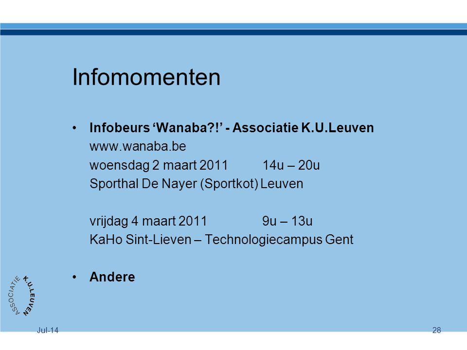 Infomomenten Infobeurs 'Wanaba !' - Associatie K.U.Leuven