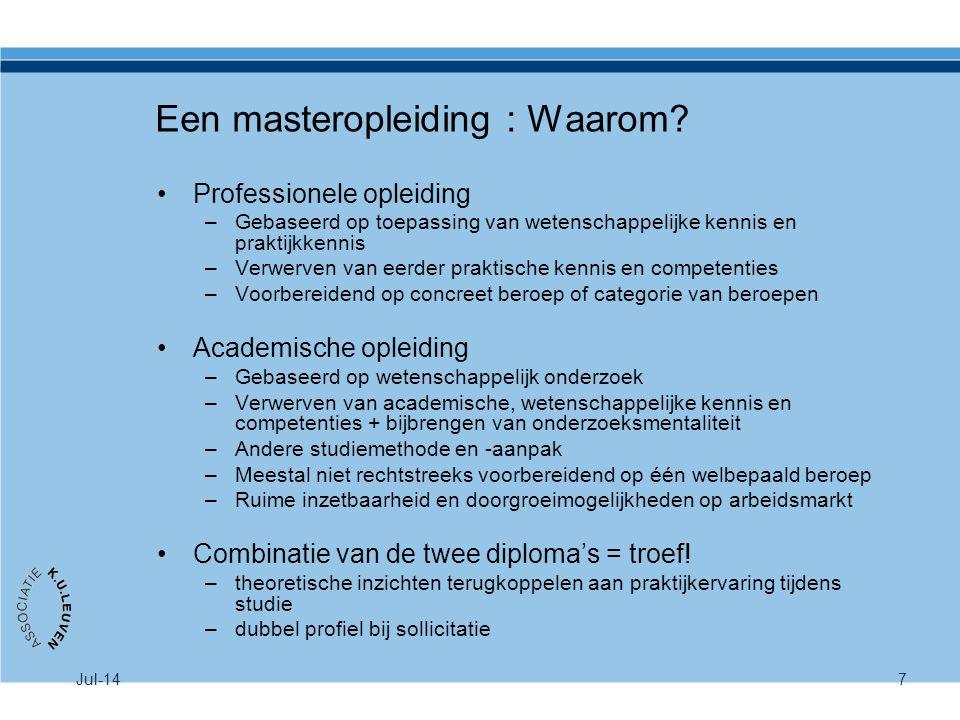 Een masteropleiding : Waarom