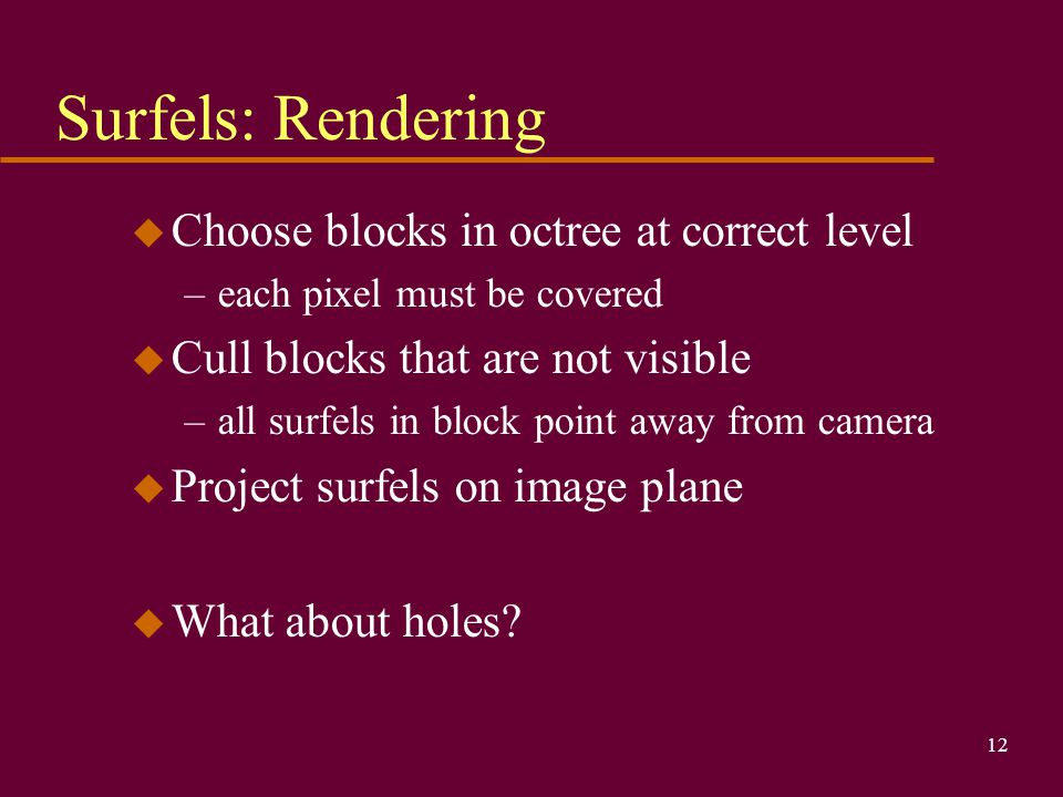 Surfels: Rendering Choose blocks in octree at correct level