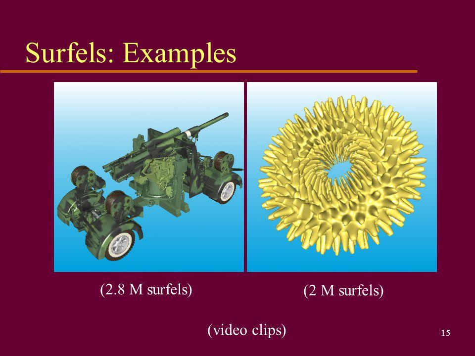 Surfels: Examples (2.8 M surfels) (2 M surfels) (video clips)