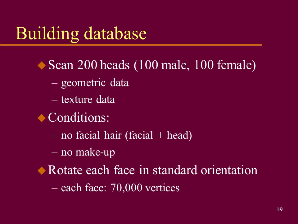 Building database Scan 200 heads (100 male, 100 female) Conditions: