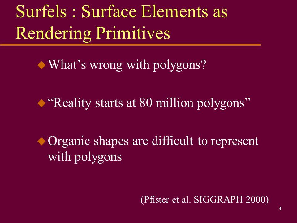 Surfels : Surface Elements as Rendering Primitives