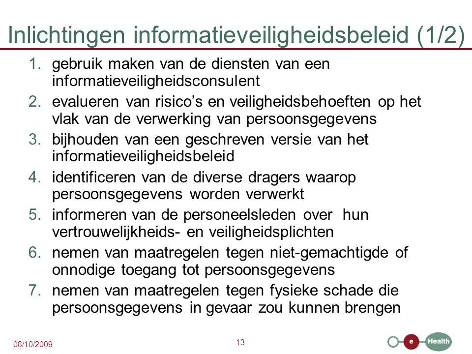 Inlichtingen informatieveiligheidsbeleid (1/2)