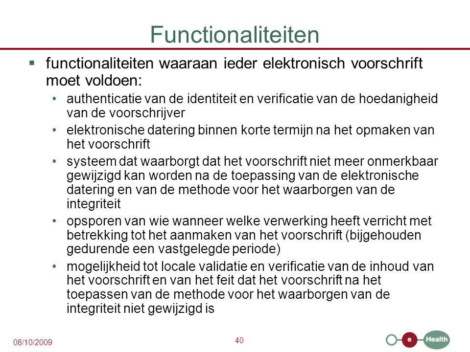 Functionaliteiten functionaliteiten waaraan ieder elektronisch voorschrift moet voldoen: