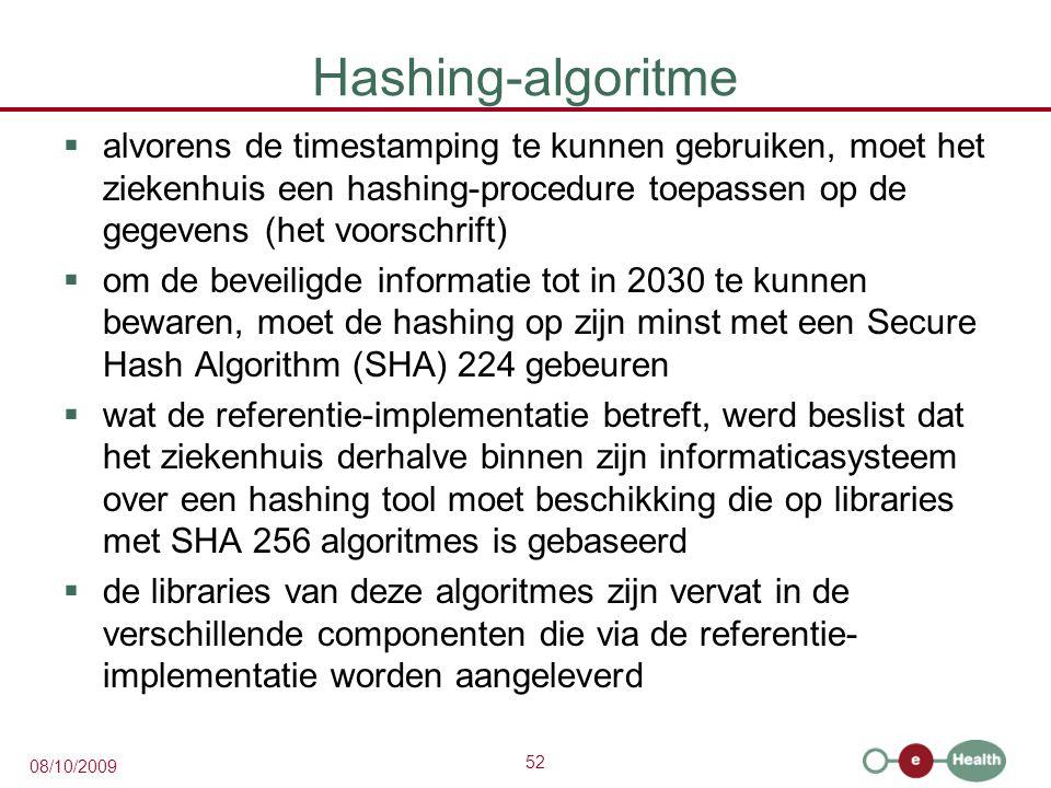 Hashing-algoritme alvorens de timestamping te kunnen gebruiken, moet het ziekenhuis een hashing-procedure toepassen op de gegevens (het voorschrift)