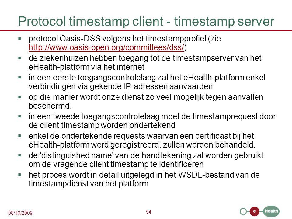 Protocol timestamp client - timestamp server