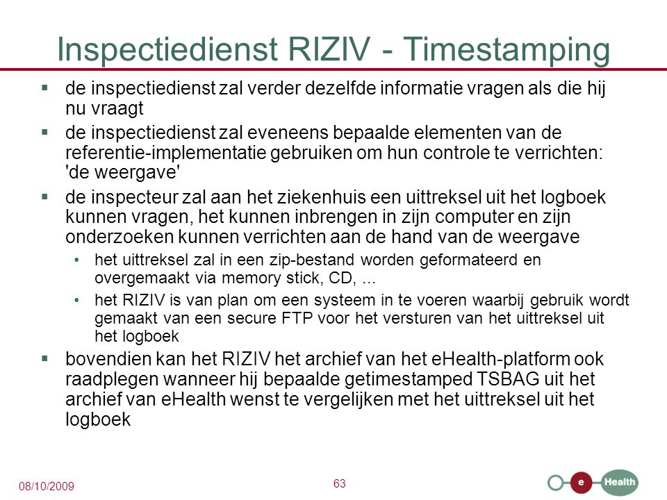 Inspectiedienst RIZIV - Timestamping