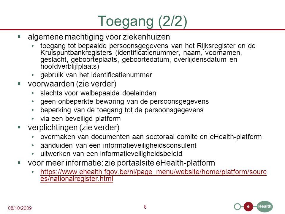Toegang (2/2) algemene machtiging voor ziekenhuizen