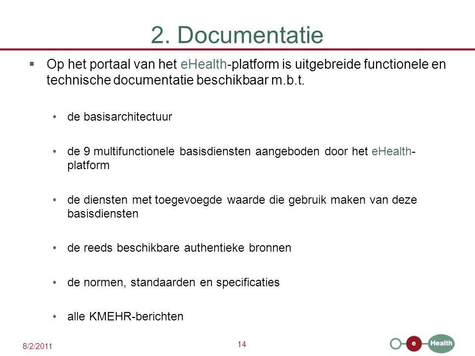 2. Documentatie Op het portaal van het eHealth-platform is uitgebreide functionele en technische documentatie beschikbaar m.b.t.