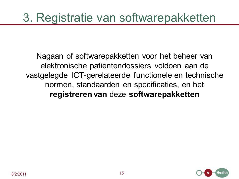 3. Registratie van softwarepakketten