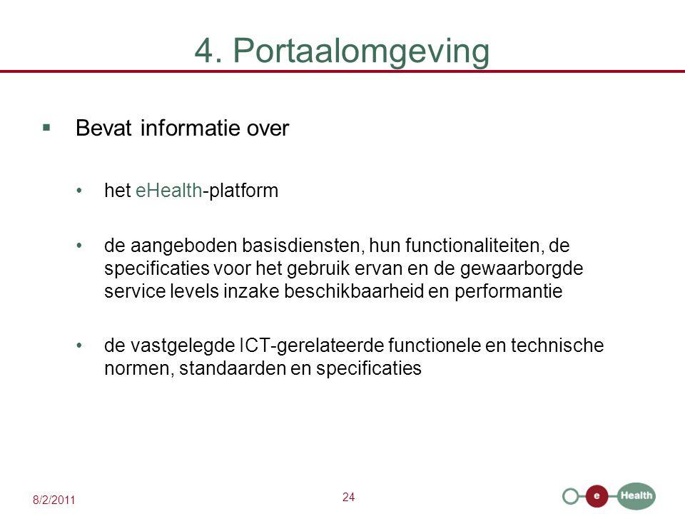 4. Portaalomgeving Bevat informatie over het eHealth-platform
