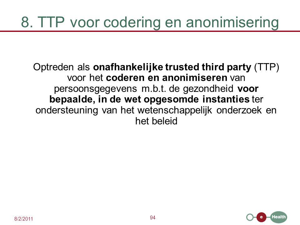 8. TTP voor codering en anonimisering