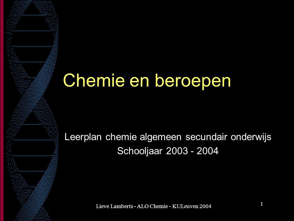 Leerplan chemie algemeen secundair onderwijs Schooljaar 2003 - 2004