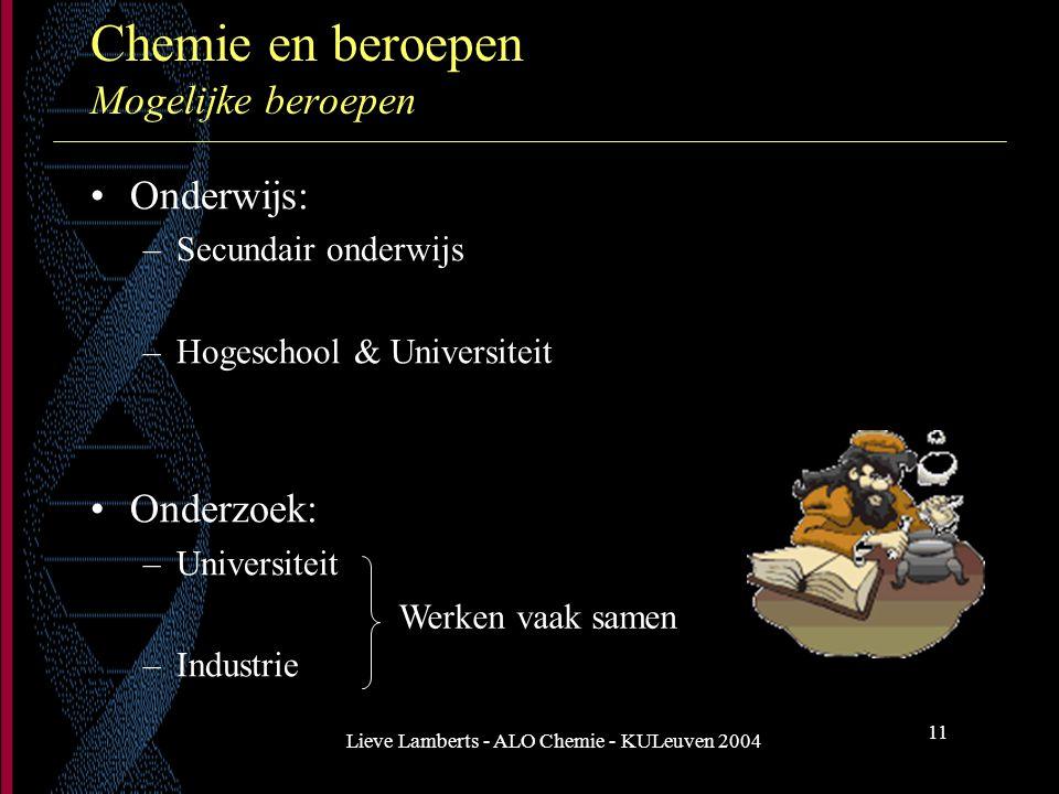 Chemie en beroepen Mogelijke beroepen