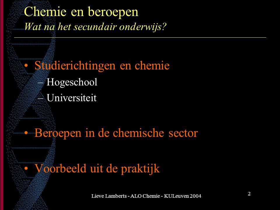 Chemie en beroepen Wat na het secundair onderwijs
