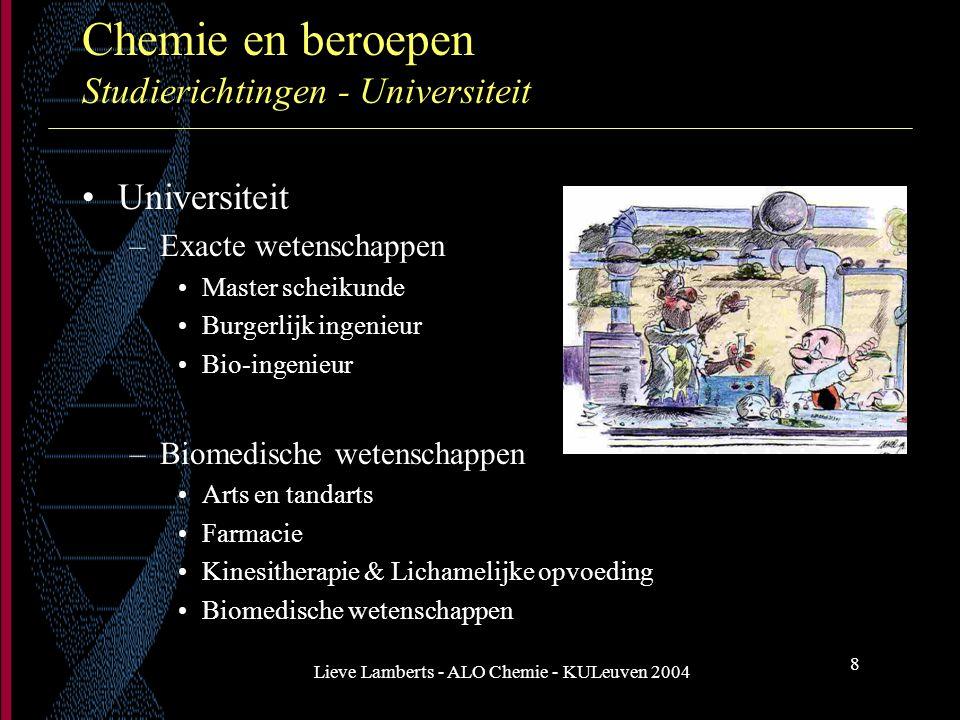 Chemie en beroepen Studierichtingen - Universiteit