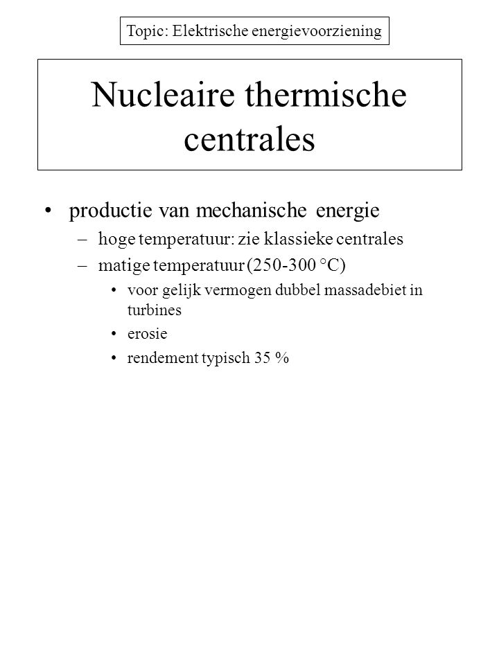 Nucleaire thermische centrales