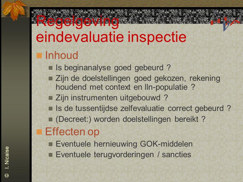 Regelgeving eindevaluatie inspectie