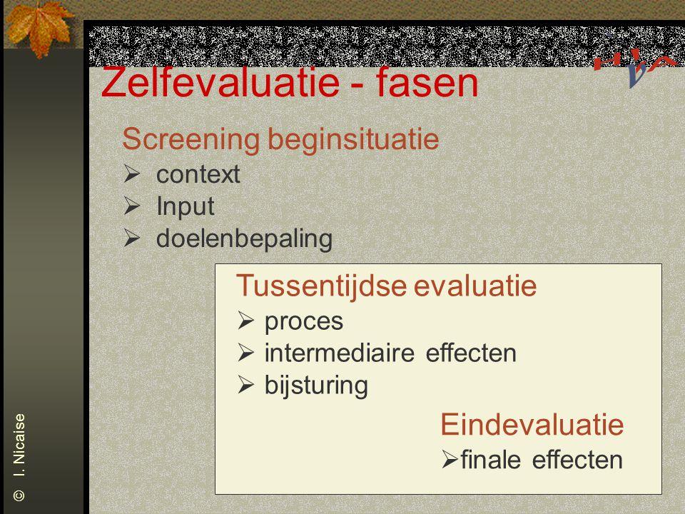 Zelfevaluatie - fasen Screening beginsituatie Tussentijdse evaluatie