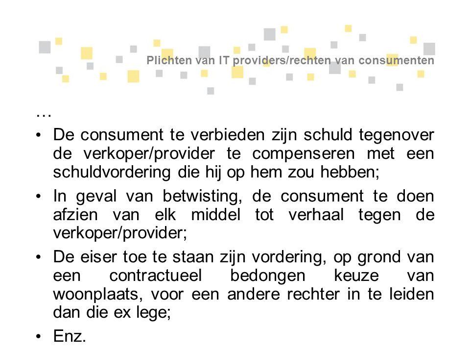 Plichten van IT providers/rechten van consumenten
