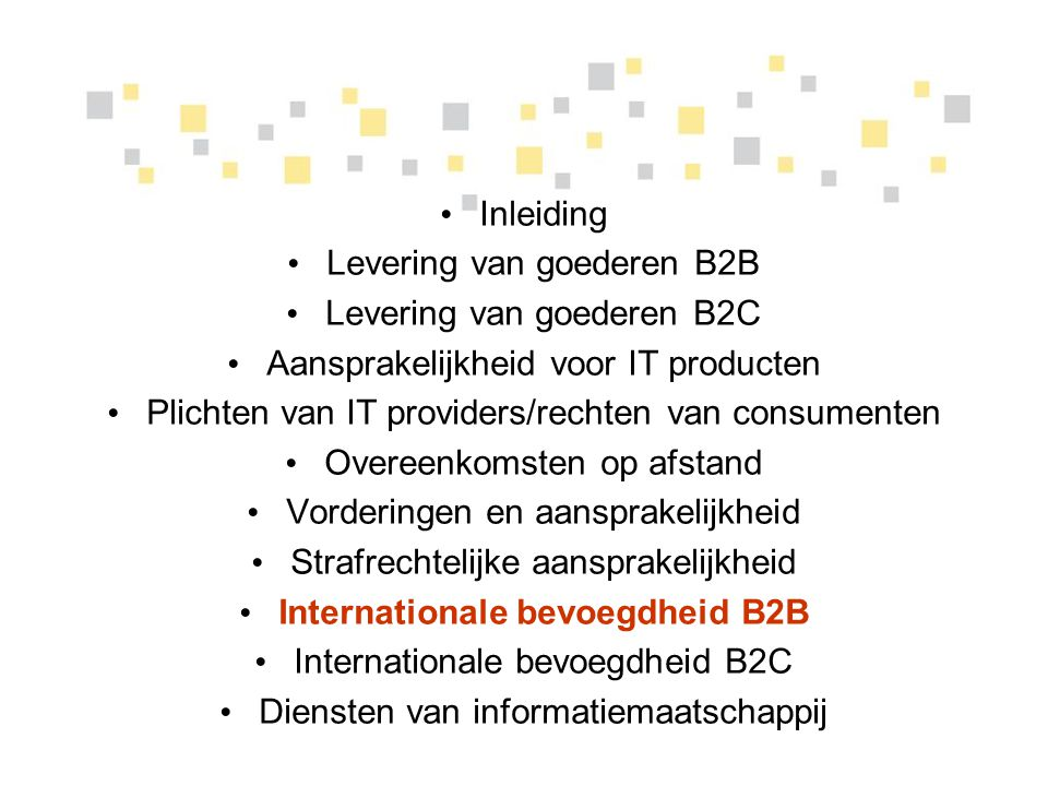Internationale bevoegdheid B2B