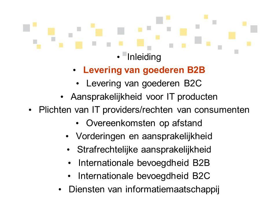 Levering van goederen B2B
