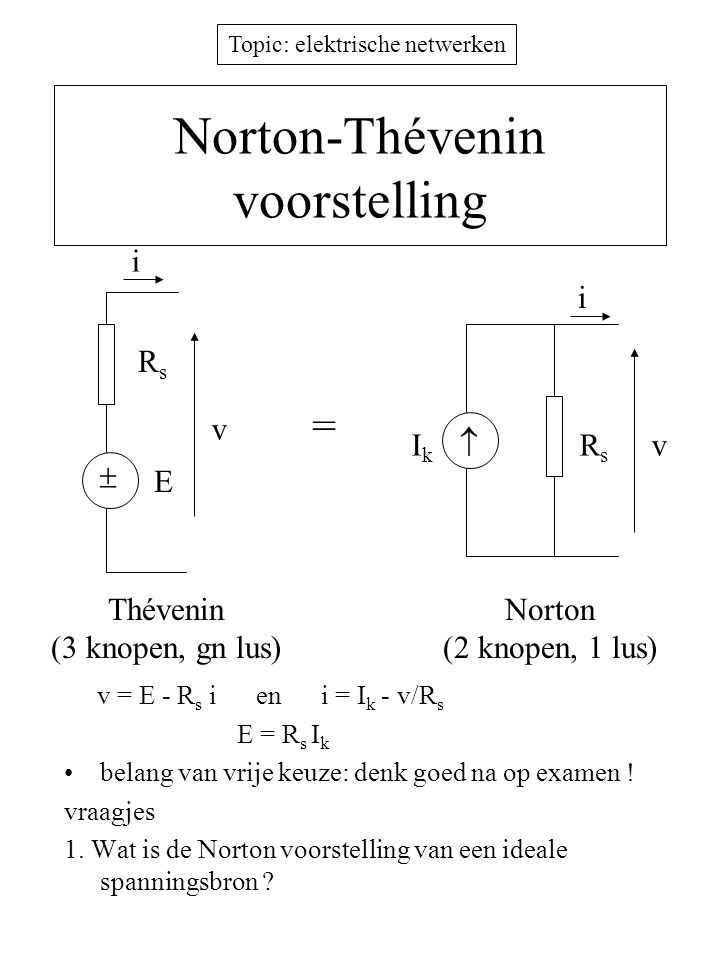 Norton-Thévenin voorstelling