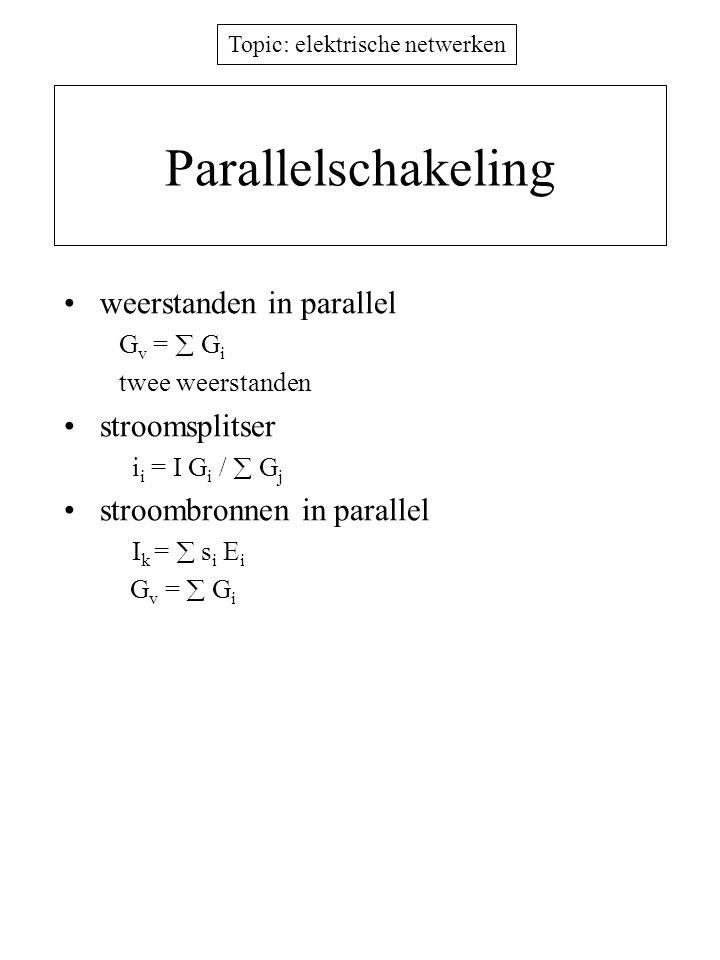 Parallelschakeling weerstanden in parallel stroomsplitser