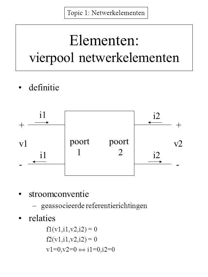 Elementen: vierpool netwerkelementen