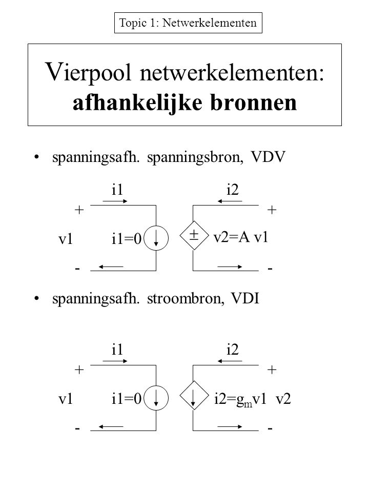 Vierpool netwerkelementen: afhankelijke bronnen
