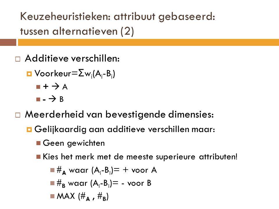 Keuzeheuristieken: attribuut gebaseerd: tussen alternatieven (2)