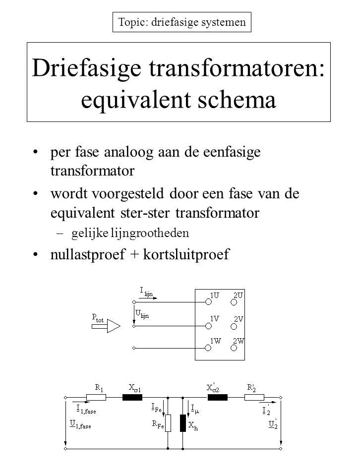 Driefasige transformatoren: equivalent schema