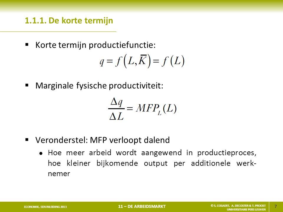 Korte termijn productiefunctie: