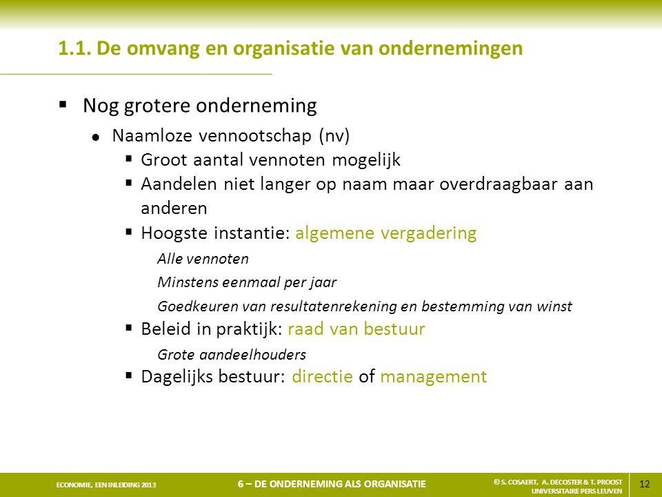 1.1. De omvang en organisatie van ondernemingen